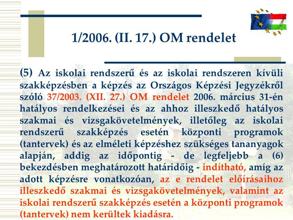 1/2006. (II. 17.) OM rendelet (5) Az iskolai rendszerű és az iskolai rendszeren kívüli szakképzésben a képzés az Országos Képzési Jegyzékről szóló 37/