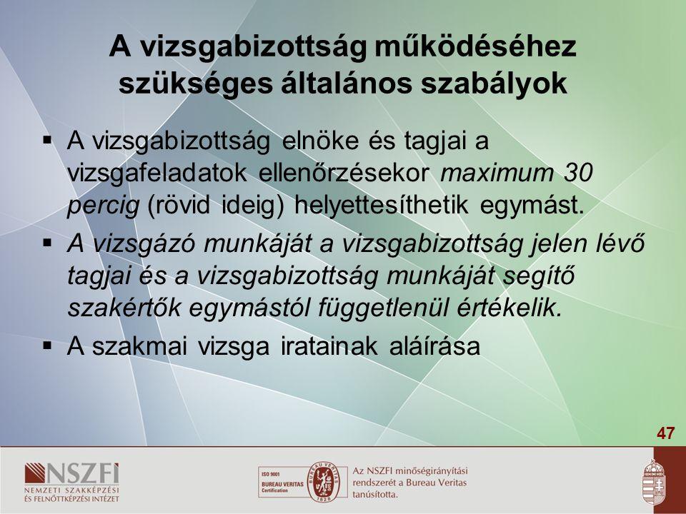 47 A vizsgabizottság működéséhez szükséges általános szabályok  A vizsgabizottság elnöke és tagjai a vizsgafeladatok ellenőrzésekor maximum 30 percig (rövid ideig) helyettesíthetik egymást.