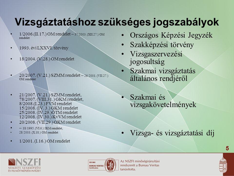 5 Vizsgáztatáshoz szükséges jogszabályok 1/2006.(II.17.) OM rendelet – 37/2003.