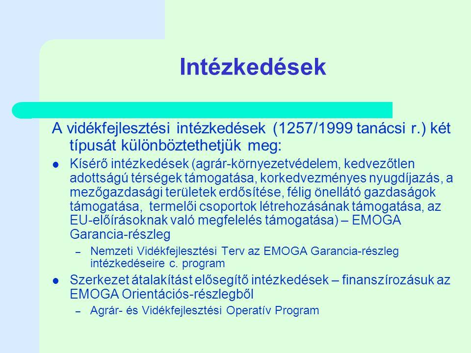 Intézkedések A vidékfejlesztési intézkedések (1257/1999 tanácsi r.) két típusát különböztethetjük meg: Kísérő intézkedések (agrár-környezetvédelem, kedvezőtlen adottságú térségek támogatása, korkedvezményes nyugdíjazás, a mezőgazdasági területek erdősítése, félig önellátó gazdaságok támogatása, termelői csoportok létrehozásának támogatása, az EU-előírásoknak való megfelelés támogatása) – EMOGA Garancia-részleg – Nemzeti Vidékfejlesztési Terv az EMOGA Garancia-részleg intézkedéseire c.