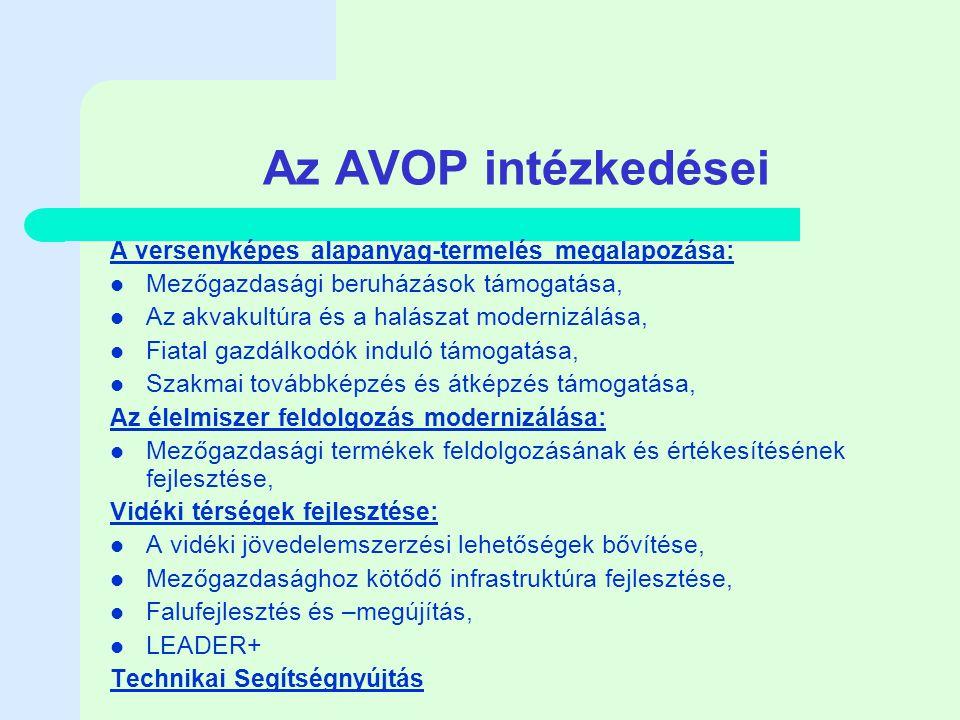 Az AVOP intézkedései A versenyképes alapanyag-termelés megalapozása: Mezőgazdasági beruházások támogatása, Az akvakultúra és a halászat modernizálása, Fiatal gazdálkodók induló támogatása, Szakmai továbbképzés és átképzés támogatása, Az élelmiszer feldolgozás modernizálása: Mezőgazdasági termékek feldolgozásának és értékesítésének fejlesztése, Vidéki térségek fejlesztése: A vidéki jövedelemszerzési lehetőségek bővítése, Mezőgazdasághoz kötődő infrastruktúra fejlesztése, Falufejlesztés és –megújítás, LEADER+ Technikai Segítségnyújtás