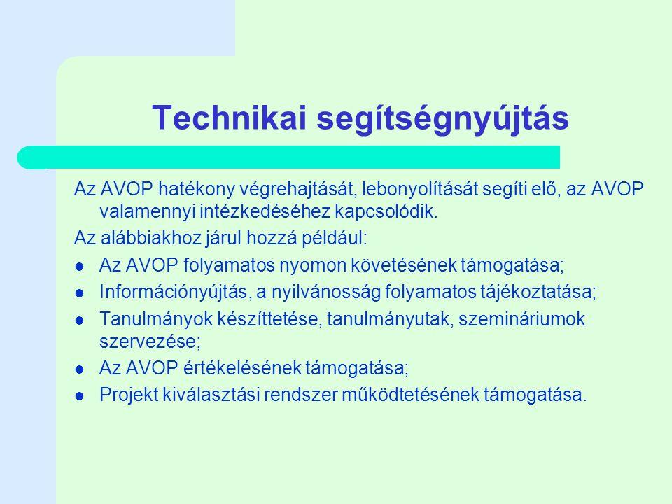 Technikai segítségnyújtás Az AVOP hatékony végrehajtását, lebonyolítását segíti elő, az AVOP valamennyi intézkedéséhez kapcsolódik.