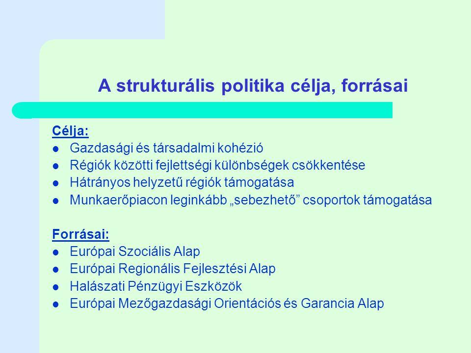 """A strukturális politika célja, forrásai Célja: Gazdasági és társadalmi kohézió Régiók közötti fejlettségi különbségek csökkentése Hátrányos helyzetű régiók támogatása Munkaerőpiacon leginkább """"sebezhető csoportok támogatása Forrásai: Európai Szociális Alap Európai Regionális Fejlesztési Alap Halászati Pénzügyi Eszközök Európai Mezőgazdasági Orientációs és Garancia Alap"""
