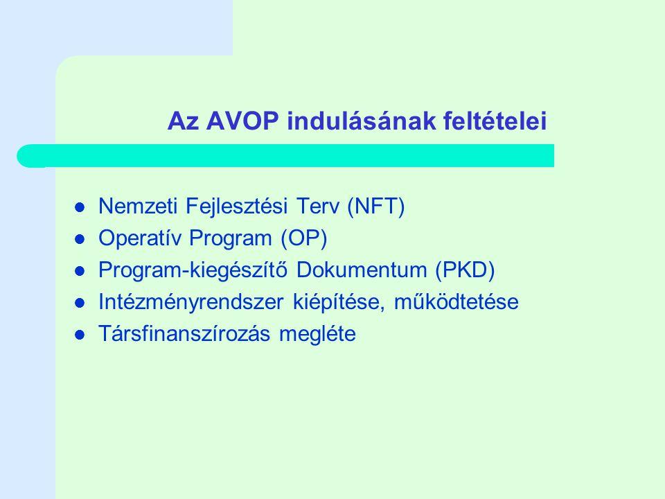 Az AVOP indulásának feltételei Nemzeti Fejlesztési Terv (NFT) Operatív Program (OP) Program-kiegészítő Dokumentum (PKD) Intézményrendszer kiépítése, működtetése Társfinanszírozás megléte
