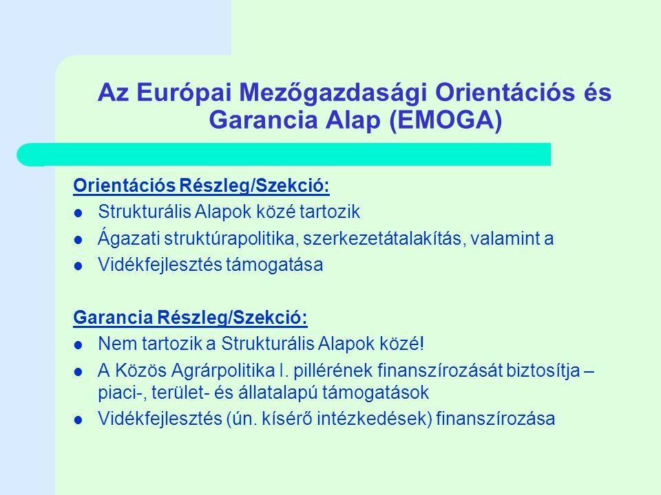 Az Európai Mezőgazdasági Orientációs és Garancia Alap (EMOGA) Orientációs Részleg/Szekció: Strukturális Alapok közé tartozik Ágazati struktúrapolitika, szerkezetátalakítás, valamint a Vidékfejlesztés támogatása Garancia Részleg/Szekció: Nem tartozik a Strukturális Alapok közé.
