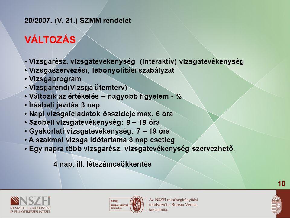 10 20/2007. (V. 21.) SZMM rendelet VÁLTOZÁS Vizsgarész, vizsgatevékenység (Interaktív) vizsgatevékenység Vizsgaszervezési, lebonyolítási szabályzat Vi