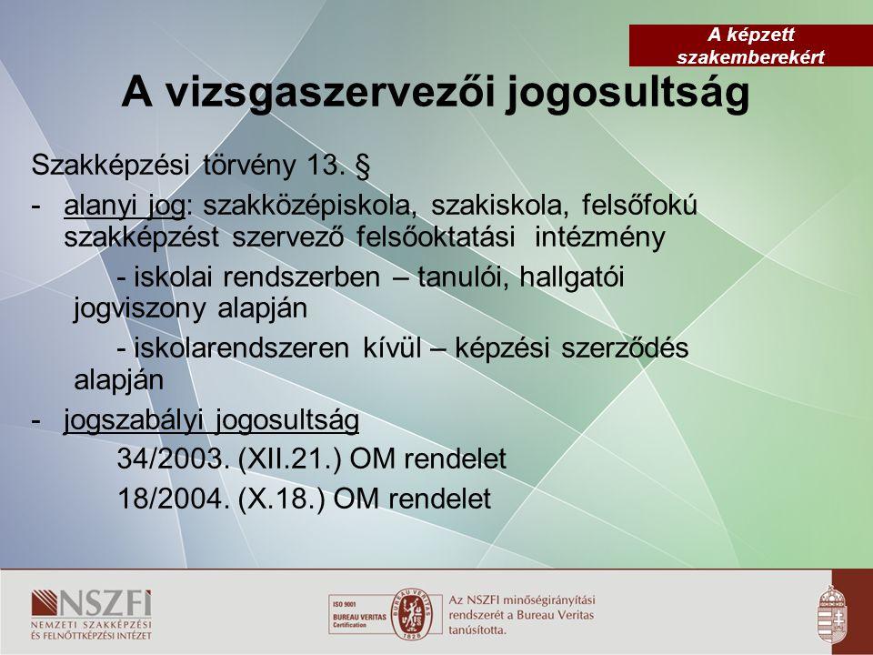 3 Vizsgáztatáshoz szükséges jogszabályok 1/2006.(II.17.) OM rendelet – 37/2003.