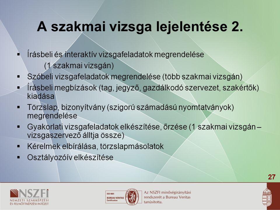 27 A szakmai vizsga lejelentése 2.  Írásbeli és interaktív vizsgafeladatok megrendelése (1 szakmai vizsgán)  Szóbeli vizsgafeladatok megrendelése (t