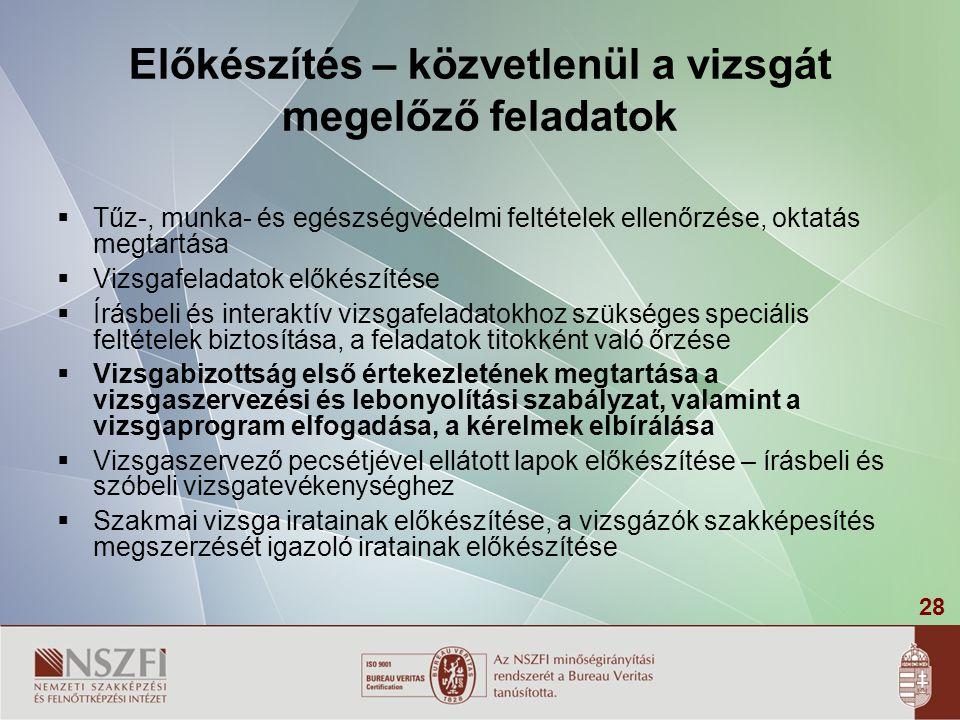 28 Előkészítés – közvetlenül a vizsgát megelőző feladatok  Tűz-, munka- és egészségvédelmi feltételek ellenőrzése, oktatás megtartása  Vizsgafeladat