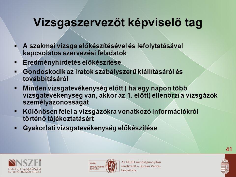 41 Vizsgaszervezőt képviselő tag  A szakmai vizsga előkészítésével és lefolytatásával kapcsolatos szervezési feladatok  Eredményhirdetés előkészítés