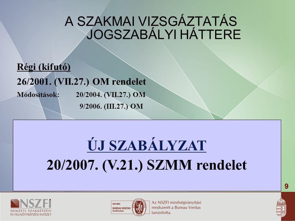 9 ÚJ SZABÁLYZAT 20/2007. (V.21.) SZMM rendelet A SZAKMAI VIZSGÁZTATÁS JOGSZABÁLYI HÁTTERE Régi (kifutó) 26/2001. (VII.27.) OM rendelet Módosítások: 20
