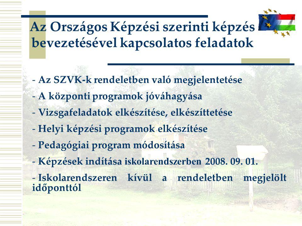 Az Országos Képzési szerinti képzés bevezetésével kapcsolatos feladatok - Az SZVK-k rendeletben való megjelentetése - A központi programok jóváhagyása - Vizsgafeladatok elkészítése, elkészíttetése - Helyi képzési programok elkészítése - Pedagógiai program módosítása - Képzések indítása iskolarendszerben 2008.