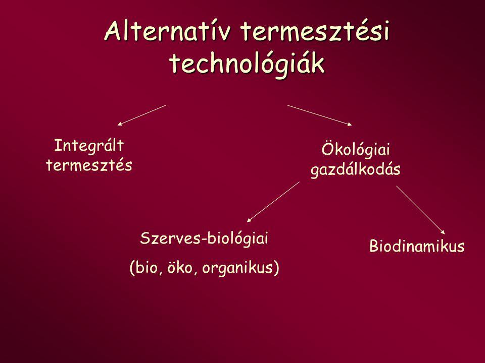 Alternatív termesztési technológiák Integrált termesztés Ökológiai gazdálkodás Szerves-biológiai (bio, öko, organikus) Biodinamikus