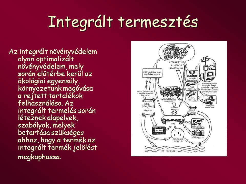 Integrált termesztés Az integrált növényvédelem olyan optimalizált növényvédelem, mely során előtérbe kerül az ökológiai egyensúly, környezetünk megóv