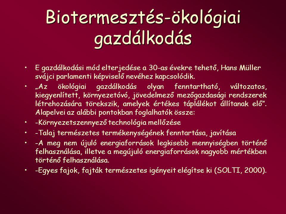 Biogazdálkodás szabályozása IFOAM – Interantional Federation of Organic Agriculture Movements EGK Tanácsi szabályzata 2092/91 (VI.24.) Biokultúra Egyesület szabályzata –Biokontroll Kht.