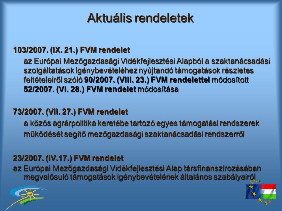 Aktuális rendeletek 103/2007.(IX.