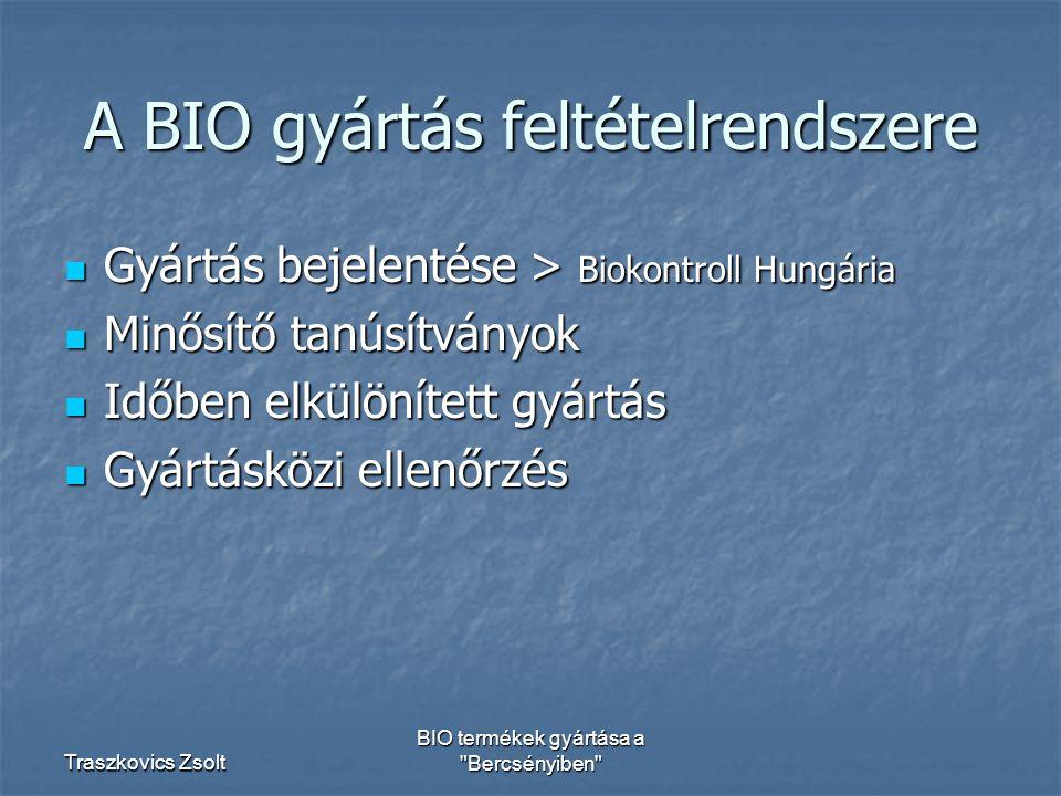 Traszkovics Zsolt BIO termékek gyártása a Bercsényiben A BIO gyártás feltételrendszere Gyártás bejelentése > Biokontroll Hungária Gyártás bejelentése > Biokontroll Hungária Minősítő tanúsítványok Minősítő tanúsítványok Időben elkülönített gyártás Időben elkülönített gyártás Gyártásközi ellenőrzés Gyártásközi ellenőrzés