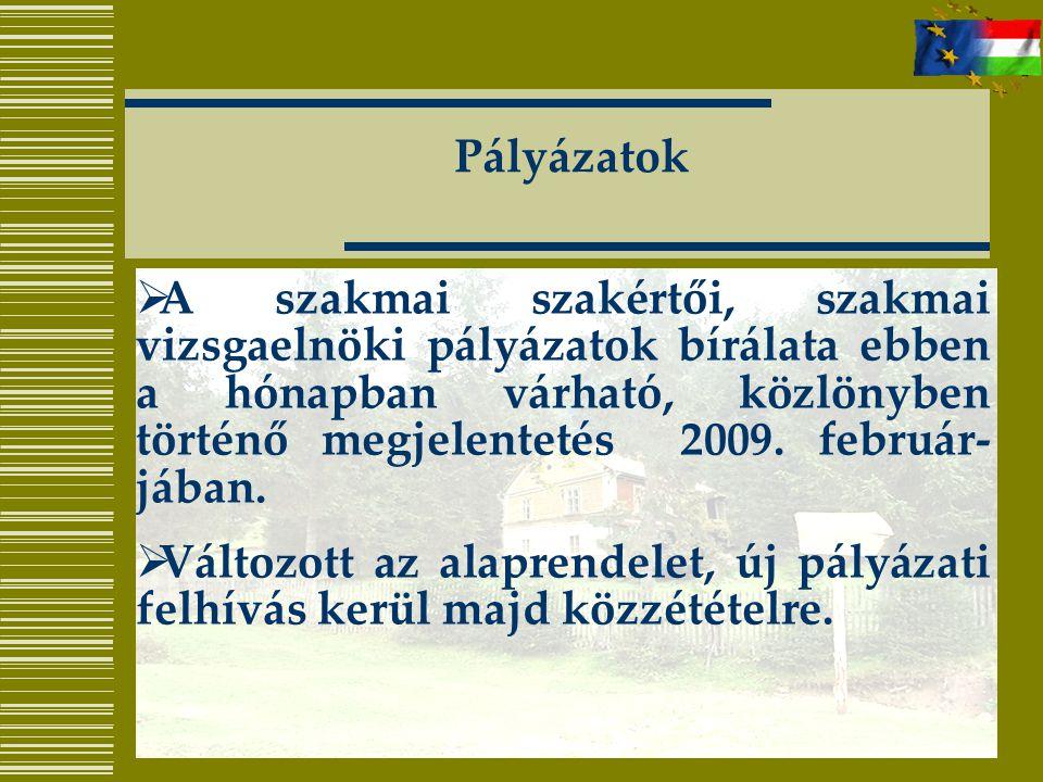 Pályázatok  A szakmai szakértői, szakmai vizsgaelnöki pályázatok bírálata ebben a hónapban várható, közlönyben történő megjelentetés 2009.