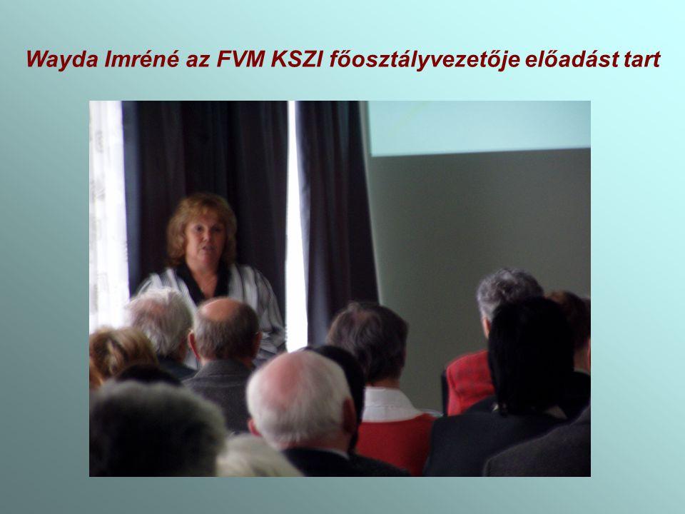 Wayda Imréné az FVM KSZI főosztályvezetője előadást tart