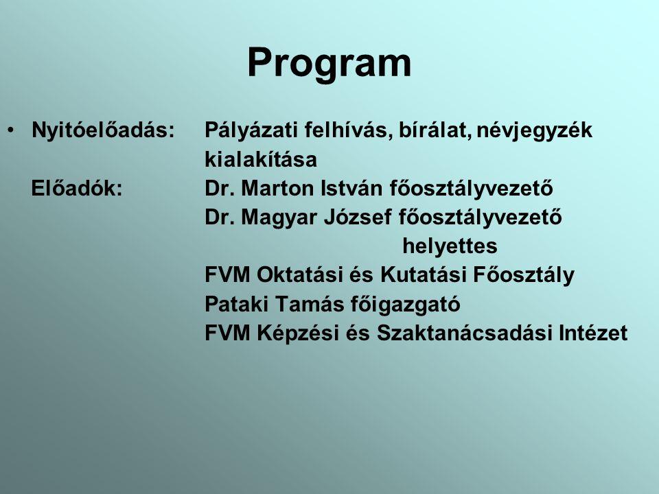 Program Nyitóelőadás: Pályázati felhívás, bírálat, névjegyzék kialakítása Előadók: Dr.