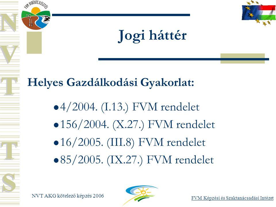 FVM Képzési és Szaktanácsadási Intézet NVT AKG kötelező képzés 2006 Jogi háttér Helyes Gazdálkodási Gyakorlat: 4/2004.