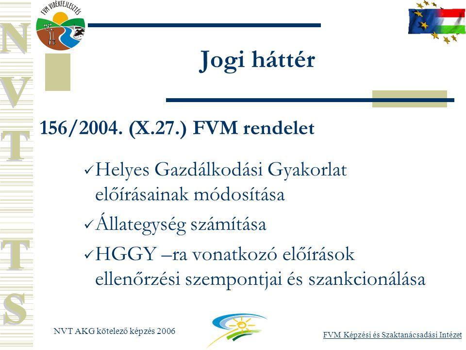 FVM Képzési és Szaktanácsadási Intézet NVT AKG kötelező képzés 2006 Jogi háttér 156/2004.