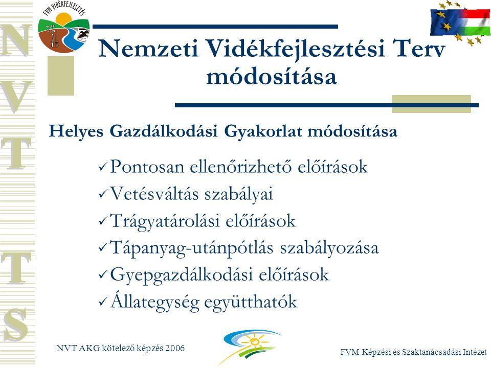 FVM Képzési és Szaktanácsadási Intézet NVT AKG kötelező képzés 2006 Nemzeti Vidékfejlesztési Terv módosítása Helyes Gazdálkodási Gyakorlat módosítása Pontosan ellenőrizhető előírások Vetésváltás szabályai Trágyatárolási előírások Tápanyag-utánpótlás szabályozása Gyepgazdálkodási előírások Állategység együtthatók