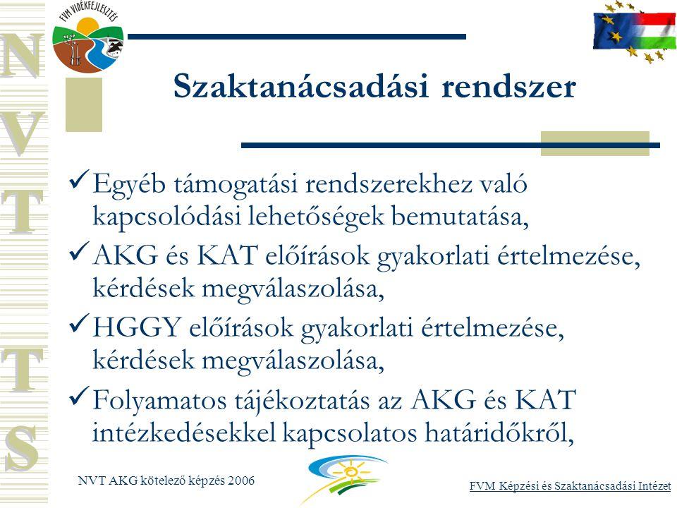 FVM Képzési és Szaktanácsadási Intézet NVT AKG kötelező képzés 2006 Szaktanácsadási rendszer Egyéb támogatási rendszerekhez való kapcsolódási lehetőségek bemutatása, AKG és KAT előírások gyakorlati értelmezése, kérdések megválaszolása, HGGY előírások gyakorlati értelmezése, kérdések megválaszolása, Folyamatos tájékoztatás az AKG és KAT intézkedésekkel kapcsolatos határidőkről,