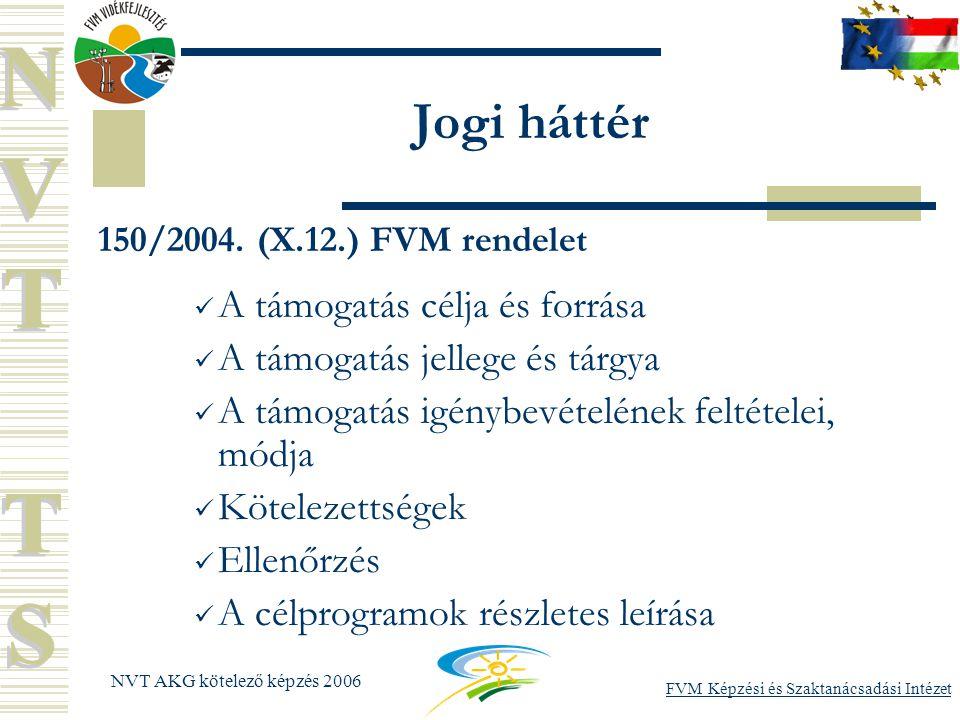 FVM Képzési és Szaktanácsadási Intézet NVT AKG kötelező képzés 2006 Jogi háttér 150/2004.