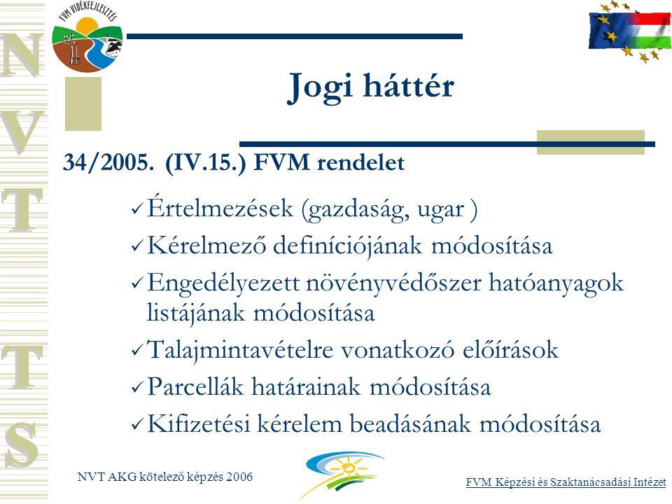 FVM Képzési és Szaktanácsadási Intézet NVT AKG kötelező képzés 2006 Jogi háttér 34/2005.