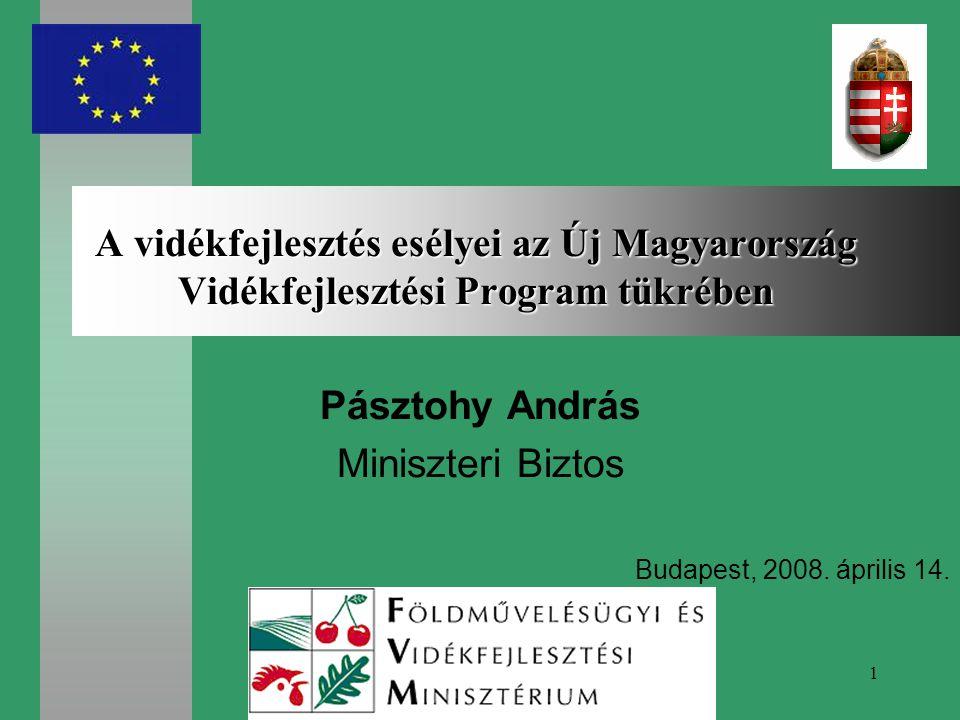 1 A vidékfejlesztés esélyei az Új Magyarország Vidékfejlesztési Program tükrében Pásztohy András Miniszteri Biztos Budapest, 2008.