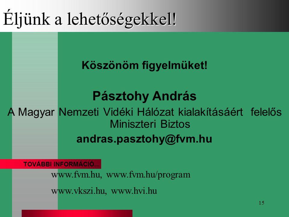 15 Éljünk a lehetőségekkel! Köszönöm figyelmüket! Pásztohy András A Magyar Nemzeti Vidéki Hálózat kialakításáért felelős Miniszteri Biztos andras.pasz