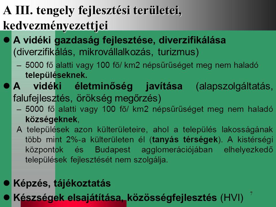 7 A III. tengely fejlesztési területei, kedvezményezettjei A vidéki gazdaság fejlesztése, diverzifikálása (diverzifikálás, mikrovállalkozás, turizmus)