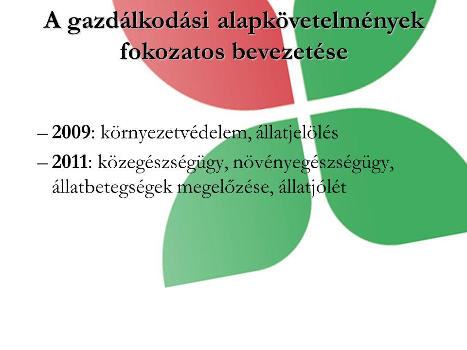 A gazdálkodási alapkövetelmények fokozatos bevezetése –2009: környezetvédelem, állatjelölés –2011: közegészségügy, növényegészségügy, állatbetegségek megelőzése, állatjólét