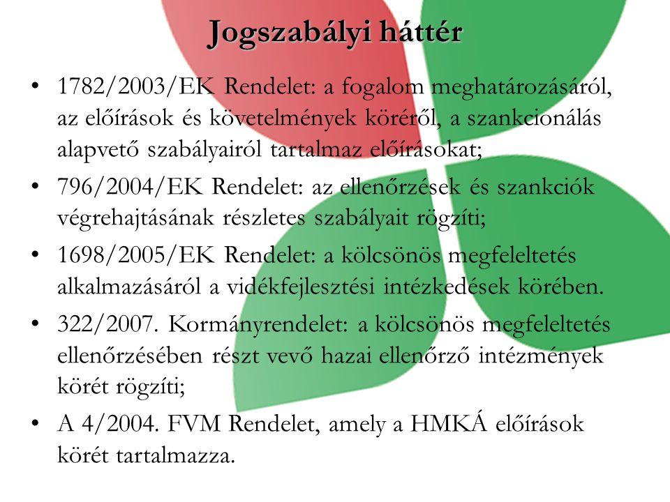 Jogszabályi háttér 1782/2003/EK Rendelet: a fogalom meghatározásáról, az előírások és követelmények köréről, a szankcionálás alapvető szabályairól tartalmaz előírásokat; 796/2004/EK Rendelet: az ellenőrzések és szankciók végrehajtásának részletes szabályait rögzíti; 1698/2005/EK Rendelet: a kölcsönös megfeleltetés alkalmazásáról a vidékfejlesztési intézkedések körében.