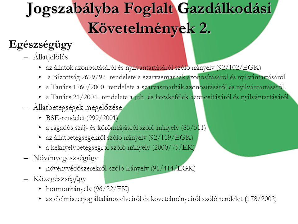 Egészségügy –Állatjelölés az állatok azonosításáról és nyilvántartásáról szóló irányelv (92/102/EGK) a Bizottság 2629/97.