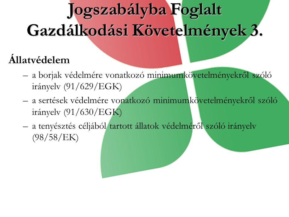 Jogszabályba Foglalt Gazdálkodási Követelmények 3.