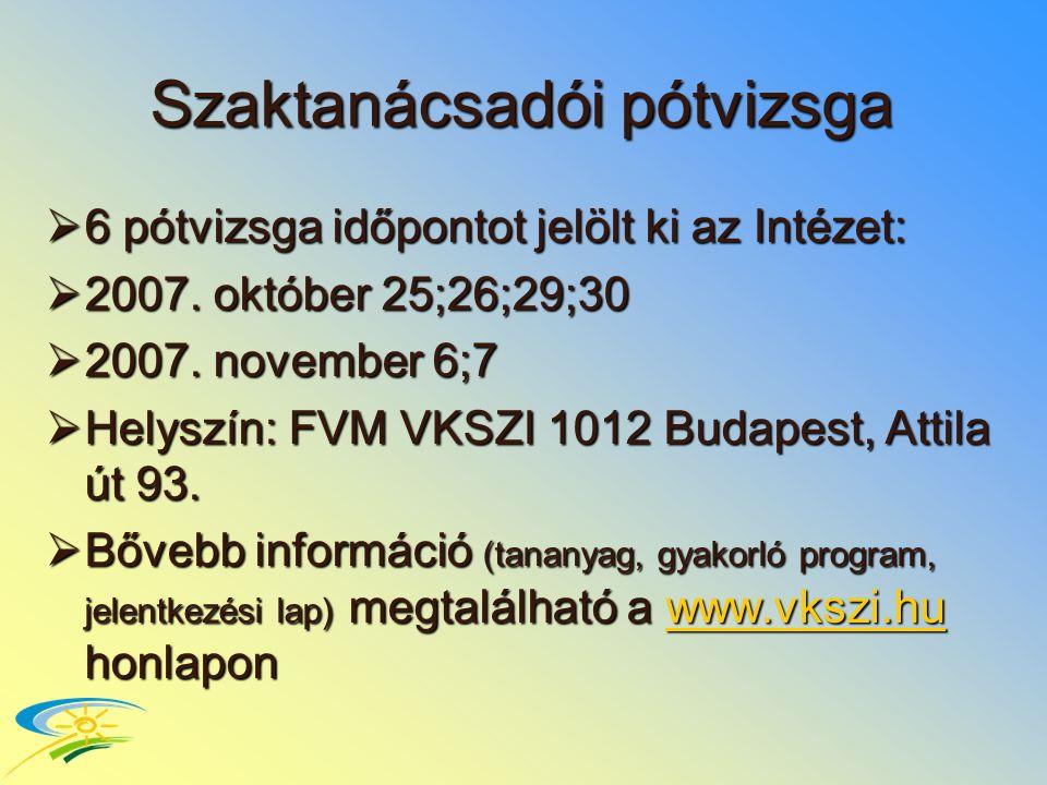 Szaktanácsadói pótvizsga  6 pótvizsga időpontot jelölt ki az Intézet:  2007.