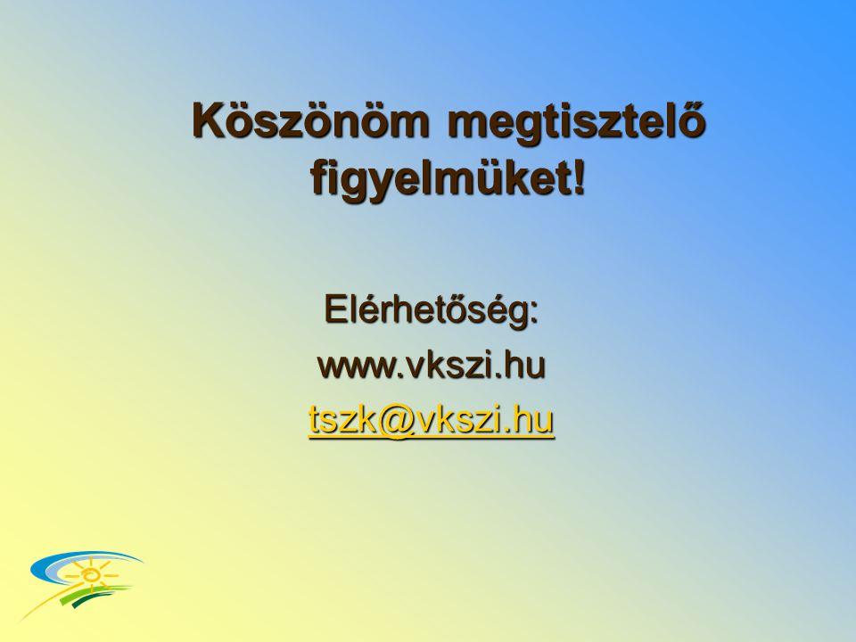 Köszönöm megtisztelő figyelmüket! Elérhetőség:www.vkszi.hu tszk@vkszi.hu
