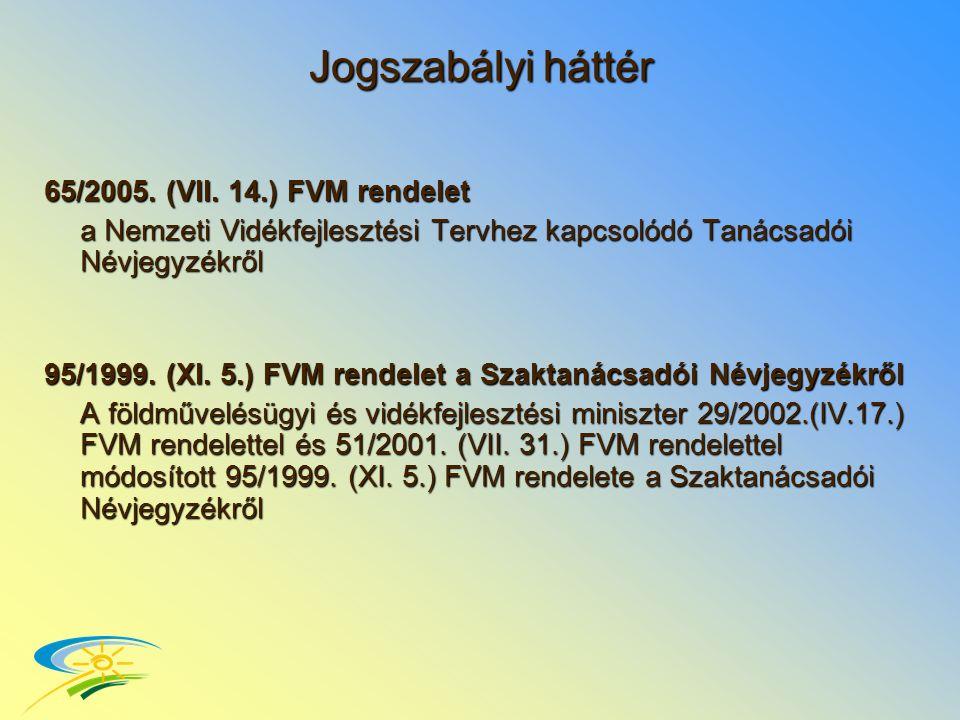 Jogszabályi háttér 65/2005. (VII.