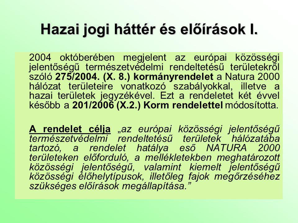 Hazai jogi háttér és előírások II.