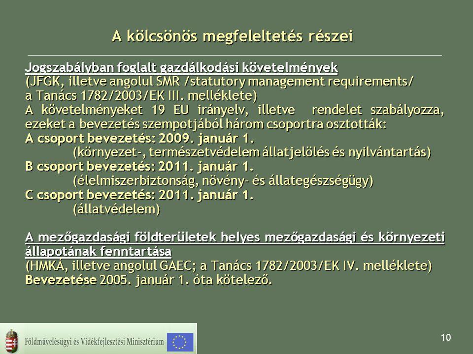 10 A kölcsönös megfeleltetés részei Jogszabályban foglalt gazdálkodási követelmények (JFGK, illetve angolul SMR /statutory management requirements/ a