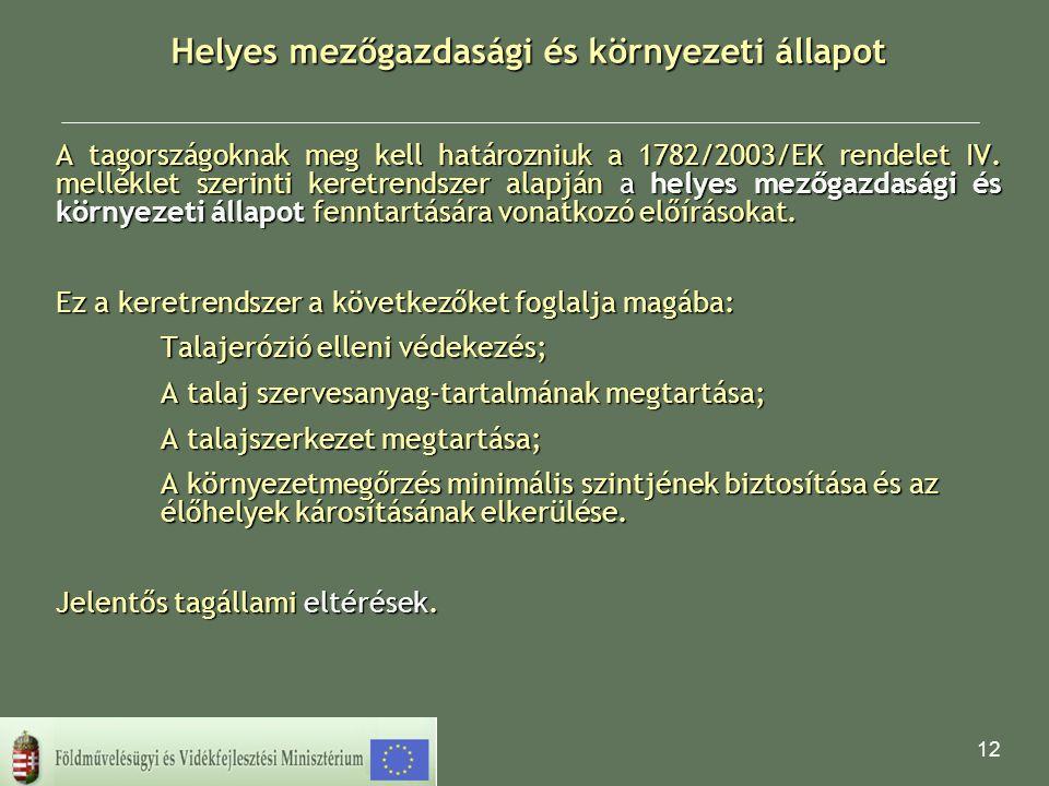 12 Helyes mezőgazdasági és környezeti állapot A tagországoknak meg kell határozniuk a 1782/2003/EK rendelet IV. melléklet szerinti keretrendszer alapj