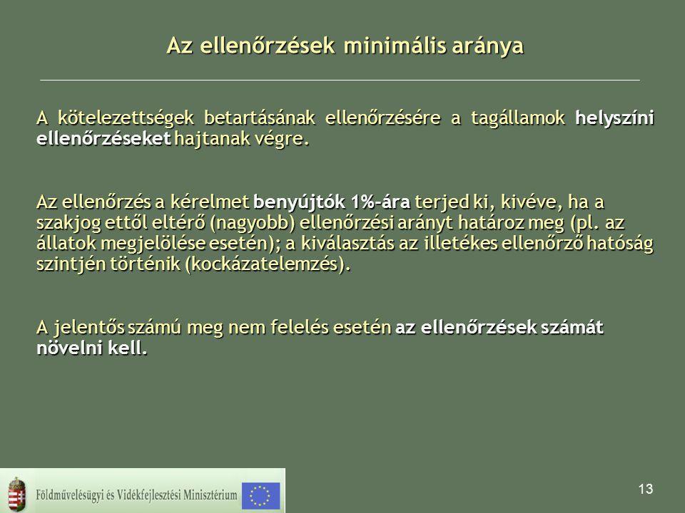 13 Az ellenőrzések minimális aránya A kötelezettségek betartásának ellenőrzésére a tagállamok helyszíni ellenőrzéseket hajtanak végre. Az ellenőrzés a