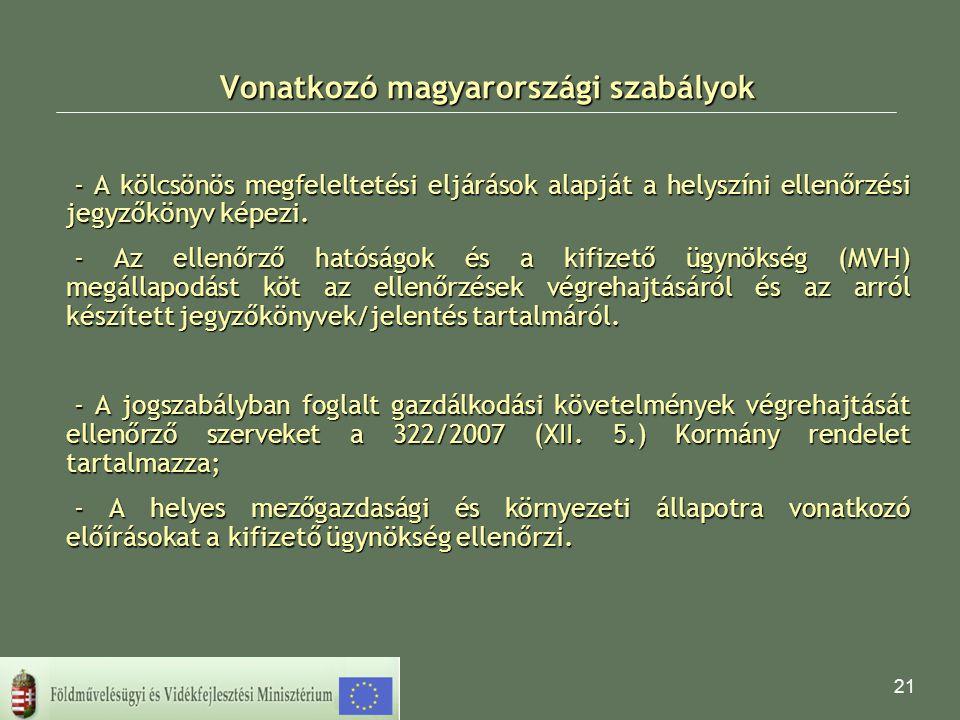 21 Vonatkozó magyarországi szabályok - A kölcsönös megfeleltetési eljárások alapját a helyszíni ellenőrzési jegyzőkönyv képezi. - Az ellenőrző hatóság