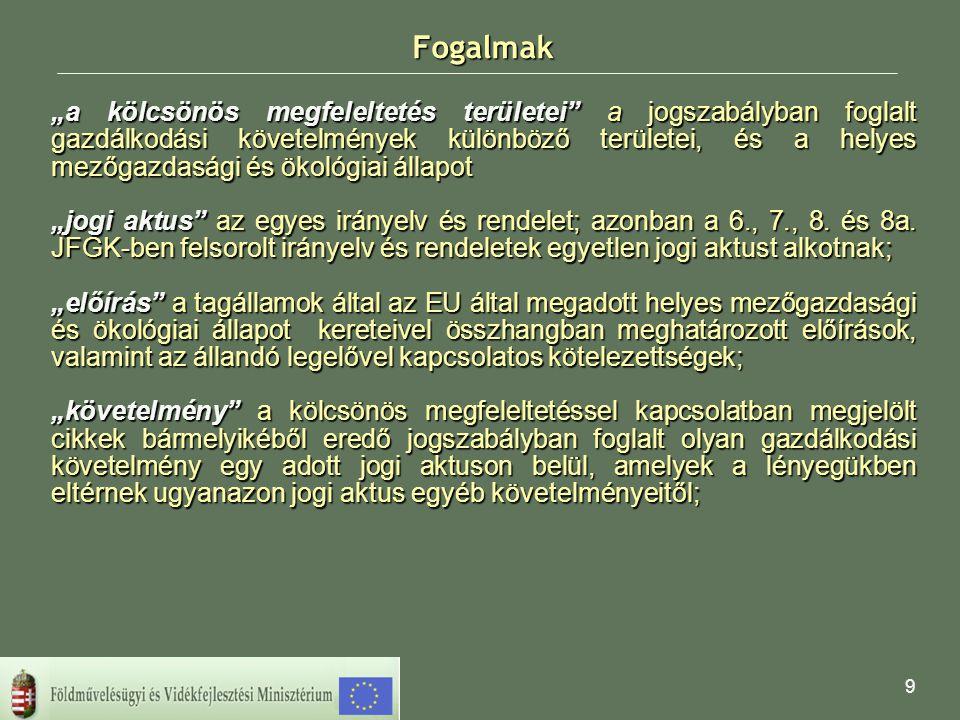 10 A kölcsönös megfeleltetés részei Jogszabályban foglalt gazdálkodási követelmények (JFGK, illetve angolul SMR /statutory management requirements/ a Tanács 1782/2003/EK III.