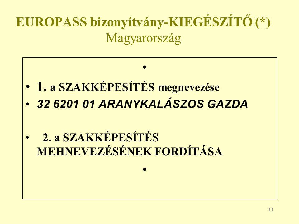 11 EUROPASS bizonyítvány-KIEGÉSZÍTŐ (*) Magyarország 1.