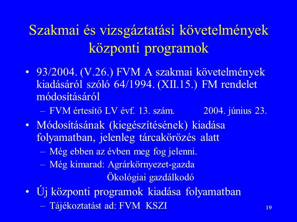 19 Szakmai és vizsgáztatási követelmények központi programok 93/2004.