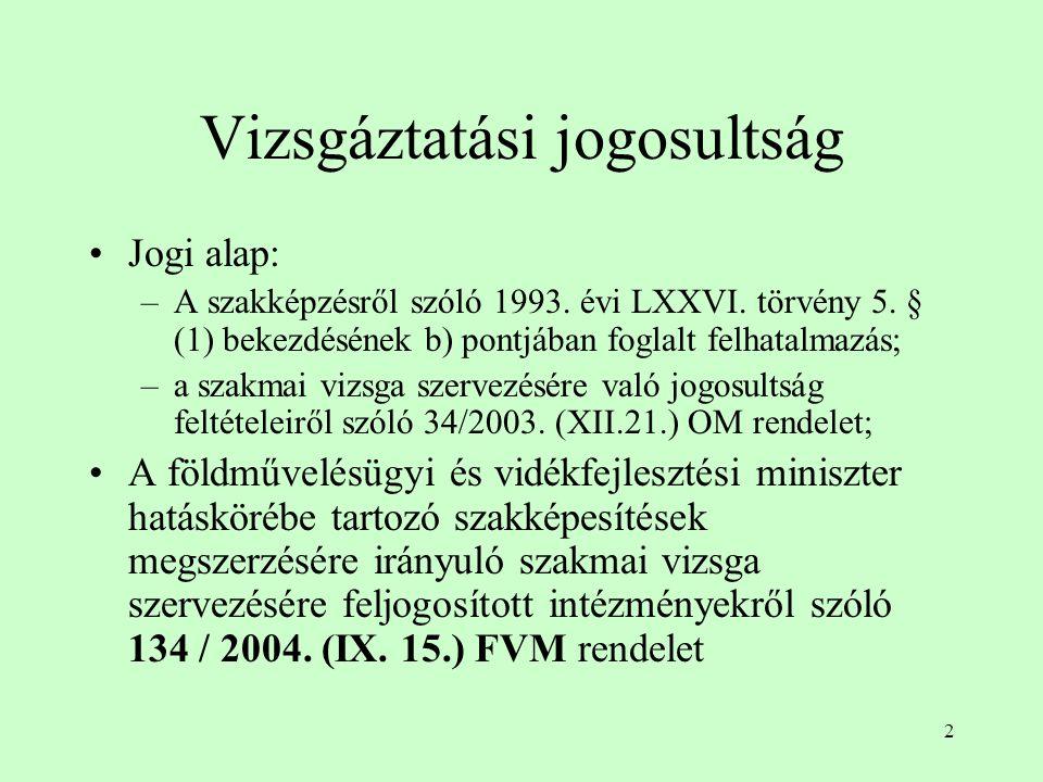 2 Vizsgáztatási jogosultság Jogi alap: –A szakképzésről szóló 1993.