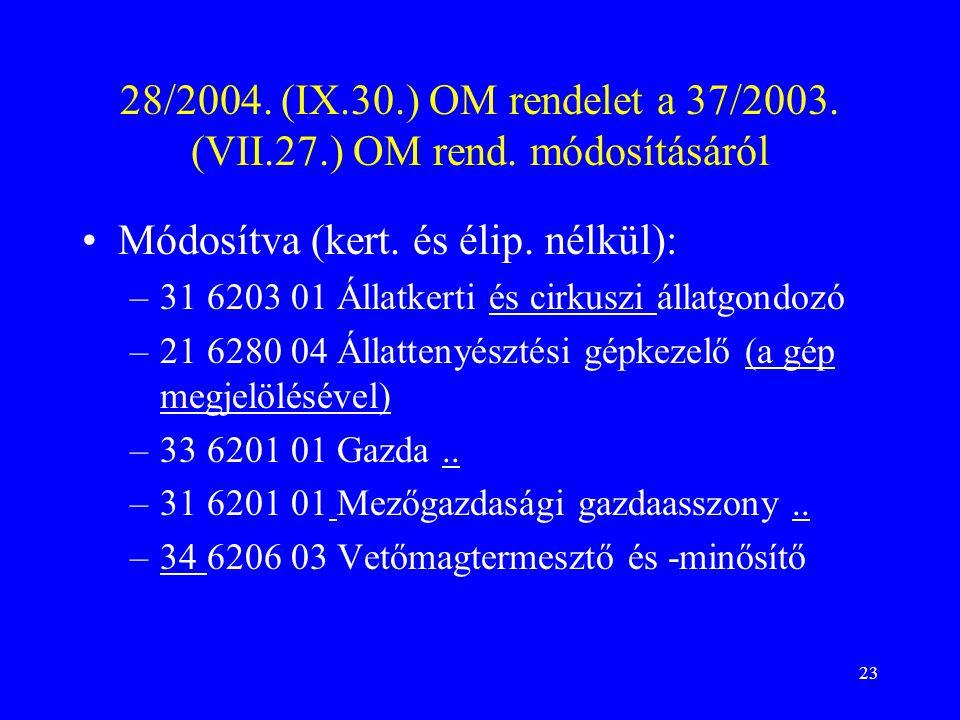 23 28/2004.(IX.30.) OM rendelet a 37/2003. (VII.27.) OM rend.